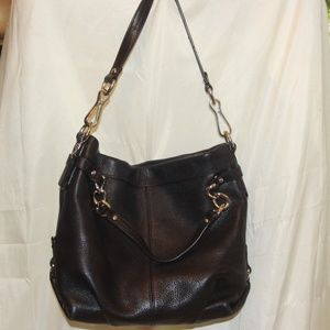 Coach Purse BROOKE F17165 - Black Leather Hobo
